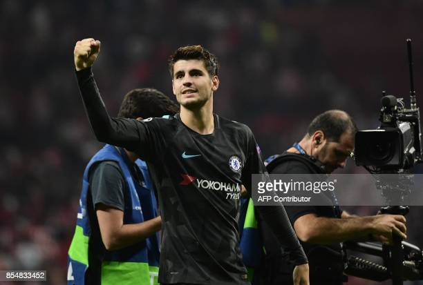 Chelsea's Spanish striker Alvaro Morata celebrates at the end of the UEFA Champions League Group C football match Club Atletico de Madrid vs Chelsea...