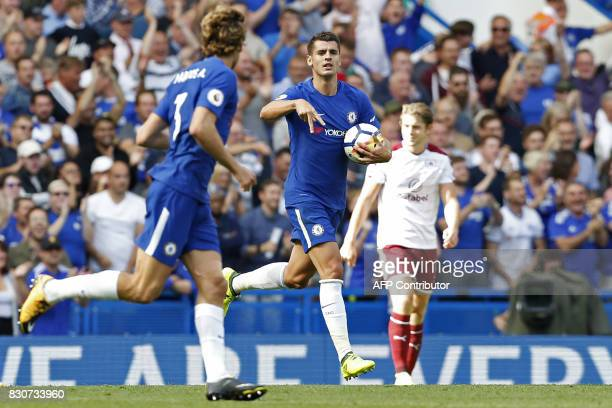 Chelsea's Spanish striker Alvaro Morata celebrates scoring his first Premier League goal during the English Premier League football match between...