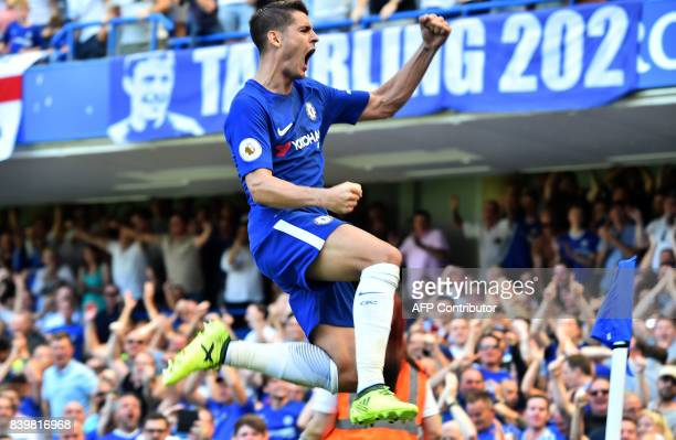 Chelsea's Spanish striker Alvaro Morata celebrates scoring his team's second goal during the English Premier League football match between Chelsea...