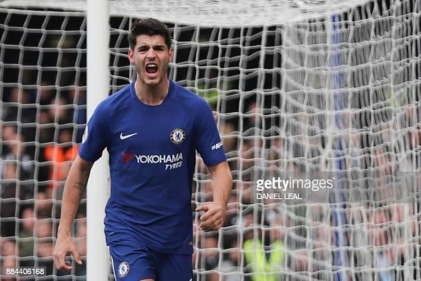 Chelsea's Spanish striker Alvaro Morata celebrates scoring his team's second goal during the English Premier League football match between Chelsea...