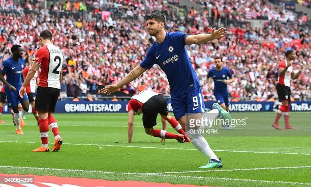 Chelsea's Spanish striker Alvaro Morata celebrates scoring his team's second goal during the English FA Cup semifinal football match between Chelsea...