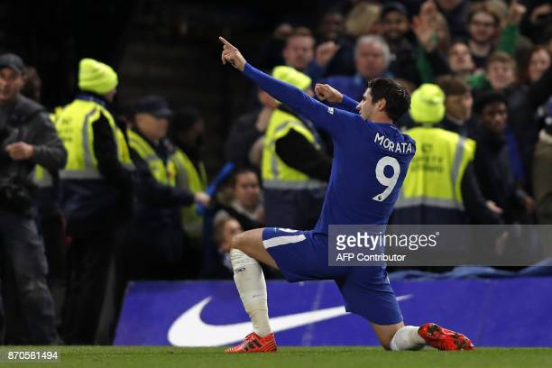Chelsea's Spanish striker Alvaro Morata celebrates scoring the opening goal during the English Premier League football match between Chelsea and...