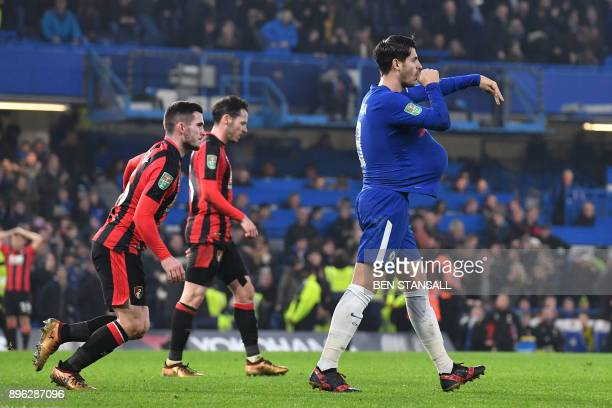 Chelsea's Spanish striker Alvaro Morata celebrates scoring the team's second goal during the English League Cup quarterfinal football match between...