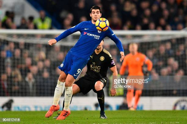 Chelsea's Spanish striker Alvaro Morata controls the ball during the English Premier League football match between Chelsea and Leicester City at...