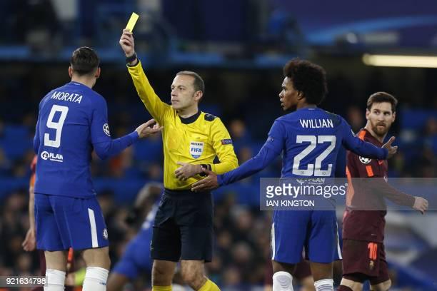 Chelsea's Spanish striker Alvaro Morata gets a yellow card as Chelsea's Brazilian midfielder Willian and Barcelona's Argentinian striker Lionel Messi...
