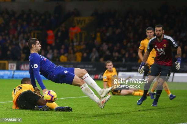 Chelsea's Spanish striker Alvaro Morata misses a chance on goal during the English Premier League football match between Wolverhampton Wanderers and...
