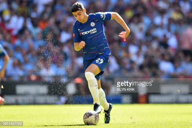 Chelsea's Spanish striker Alvaro Morata runs with the ball during the English FA Community Shield football match between Chelsea and Manchester City...