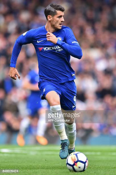 Chelsea's Spanish striker Alvaro Morata runs with the ball during the English Premier League football match between Chelsea and Arsenal at Stamford...