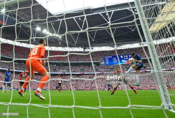 Chelsea's Spanish striker Alvaro Morata scores his team's second goal during the English FA Cup semifinal football match between Chelsea and...