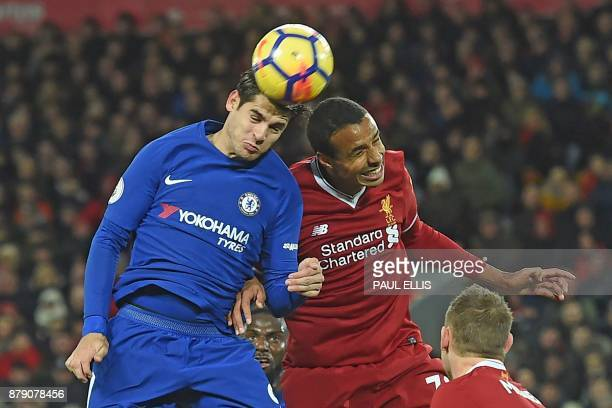 Chelsea's Spanish striker Alvaro Morata vies with Liverpool's Germanborn Cameroonian defender Joel Matip during the English Premier League football...
