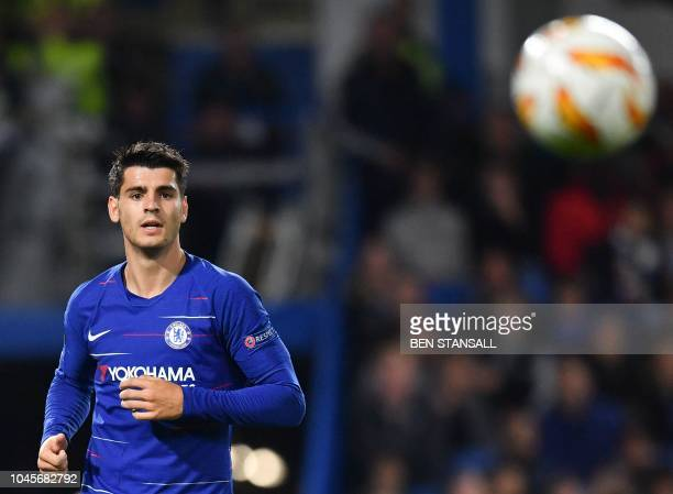Chelsea's Spanish striker Alvaro Morata watches the ball during the UEFA Europa League Group L football match between Chelsea and Vidi at Stamford...