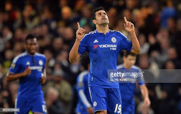 Chelsea's Spanish striker Diego Costa celebrates scoring their second goal during the English Premier League football match between Chelsea and...