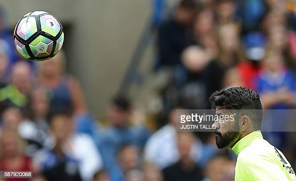 Chelsea's Spanish striker Diego Costa takes part in a training session at Chelsea's Stamford Bridge Stadium in London on August 10 ahead of the start...