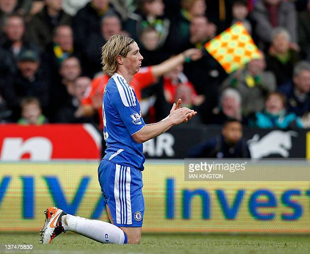 Chelsea's Spanish striker Fernando Torres gestures during the English Premier League football match between Norwich City and Chelsea at Carrow Road...