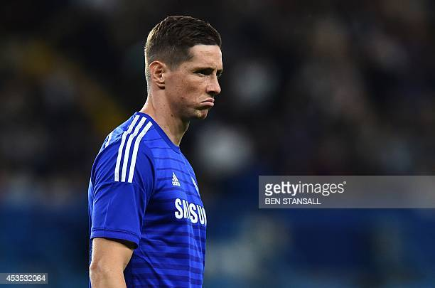 Chelsea's Spanish striker Fernando Torres gestures during the preseason football friendly match between Chelsea and Real Sociedad at Stamford Bridge...