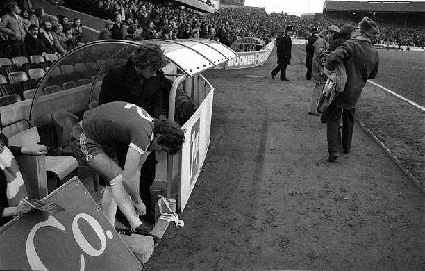 Chelsea's Steve Finnieston gets ready to come on as a substitute