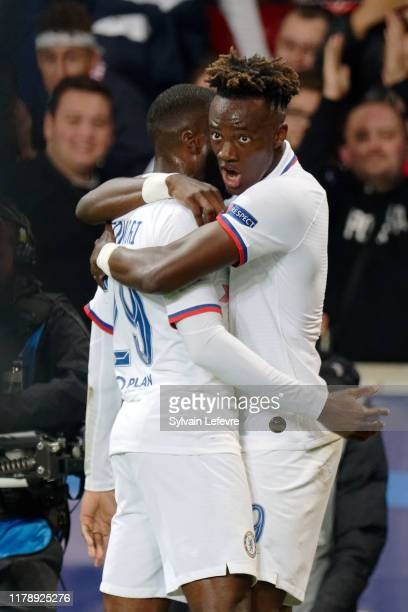 Chelsea's Tammy Abraham celebrates after scoring goal during the UEFA Champions League group H match between Lille OSC and Chelsea FC at Stade Pierre...