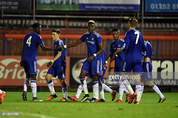 Chelsea's Tammy Abraham celebrates his 2nd goal during a 3rd Rd FA Youth Cup match between Chelsea U18 and Huddersfield Town U18 at The EBB Stadium...