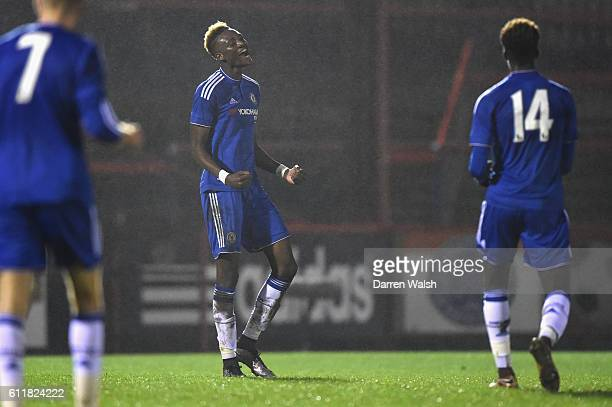 Chelsea's Tammy Abraham celebrates scoring his 3rd goal during a 3rd Rd FA Youth Cup match between Chelsea U18 and Huddersfield Town U18 at The EBB...
