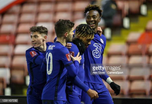 Chelsea's Tammy Abraham celebrates scoring the opening goal with Reece James during the Emirates FA Cup Fifth Round match between Barnsley and...