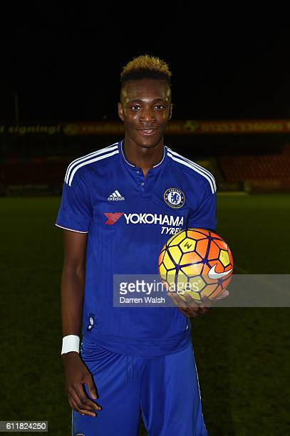 Chelsea's Tammy Abraham celebrates with his hat trick ball during a 3rd Rd FA Youth Cup match between Chelsea U18 and Huddersfield Town U18 at The...