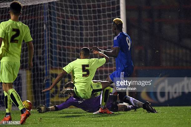 Chelsea's Tammy Abraham scores his 3rd goal during a 3rd Rd FA Youth Cup match between Chelsea U18 and Huddersfield Town U18 at The EBB Stadium on...
