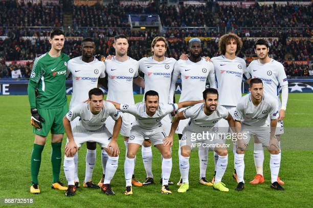 Chelsea's team players Chelsea's Belgian goalkeeper Thibaut Courtois Chelsea's German defender Antonio Rudiger Chelsea's English defender Gary Cahill...