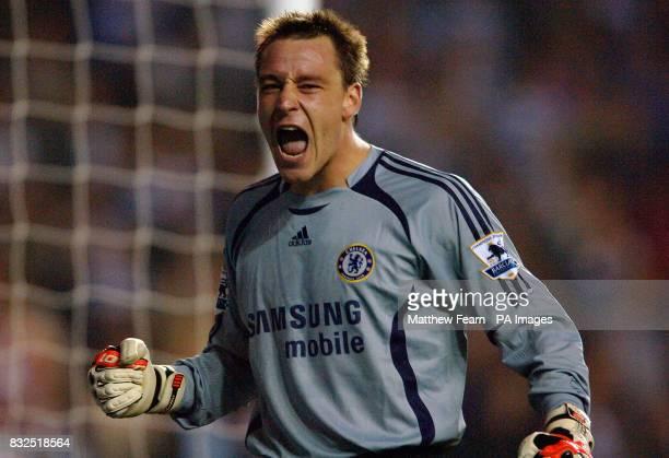 Chelsea's temporary goalkeeper John Terry celebrates his teams victory