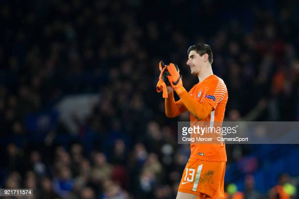 Chelsea's Thibaut Courtois applauds the fans at the final whistle during the UEFA Champions League Round of 16 First Leg match between Chelsea FC and...