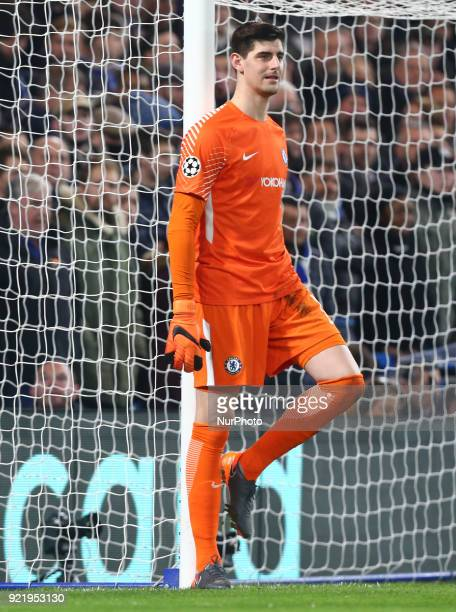 Chelsea's Thibaut Courtois during the Champions League Round of 16 match between Chelsea and Barcelona at Stamford Bridge London England on 20 Feb...