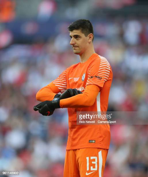 Chelsea's Thibaut Courtois during the Emirates FA Cup Final match between Chelsea and Manchester United at Wembley Stadium on May 19 2018 in London...