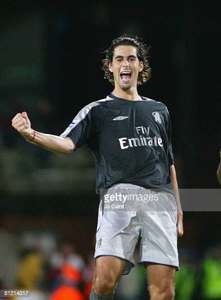 Chelsea's Tiago celebrates his goal during the Barclays Premiership match against Crystal Palace at Selhurst Park on August 24 2004 in London