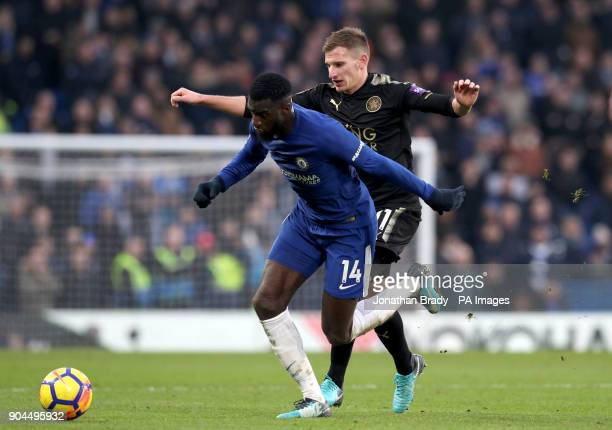 Chelsea's Tiemoue Bakayoko and Leicester City's Marc Albrighton battle for the ball during the Premier League match at Stamford Bridge London