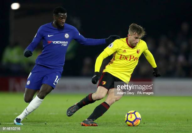 Chelsea's Tiemoue Bakayoko and Watford's Gerard Deulofeu battle for the ball during the Premier League match at Vicarage Road Watford