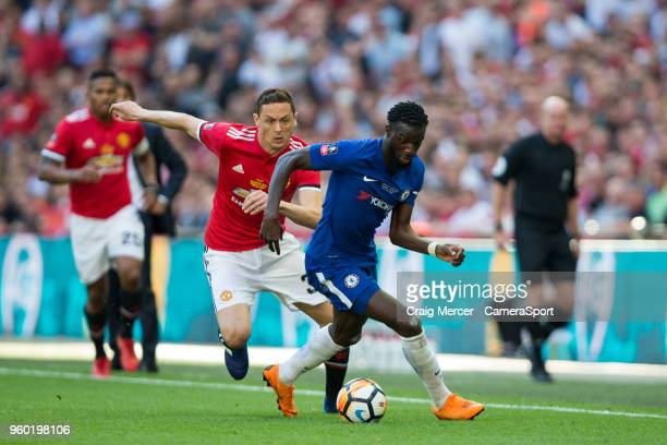 Chelsea's Tiemoue Bakayoko holds off the challenge from Manchester United's Nemanja Matic during the Emirates FA Cup Final match between Chelsea and...