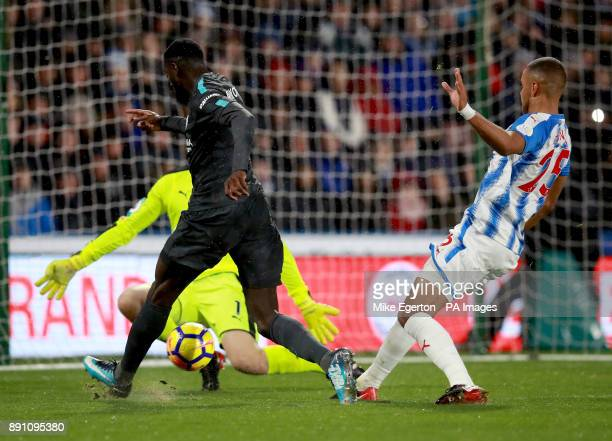 Chelsea's Tiemoue Bakayoko scores his sides first goal during the Premier League match at the John Smith's Stadium Huddersfield