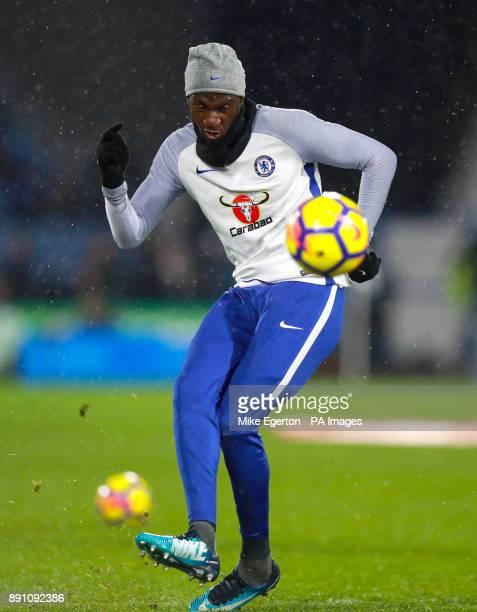 Chelsea's Tiemoue Bakayoko warming up ahead of the Premier League match at the John Smith's Stadium Huddersfield