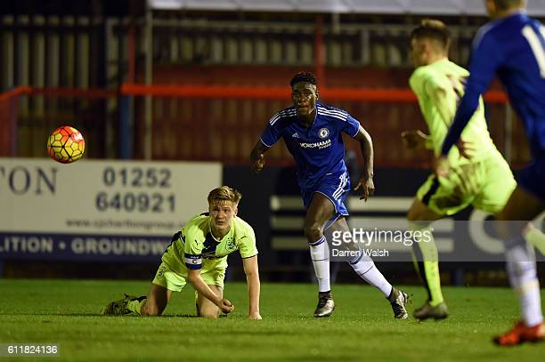 Chelsea's Trevoh Chalobah and Huddersfield Town's Jamie Spencer during a 3rd Rd FA Youth Cup match between Chelsea U18 and Huddersfield Town U18 at...