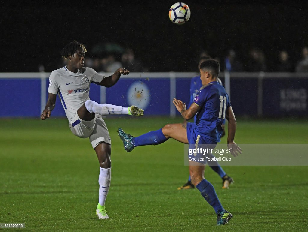 Chelsea's Trevoh Chalobah takes a knock during the premier League 2 match between Leicester City and Chelsea on September 22, 2017 in Leicester, England.
