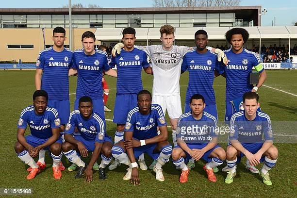 Chelsea's U19 and Atlético Madrid U19 during a Quarter Final UEFA Youth League match between Chelsea Under 19 and Atlético Madrid Under 19 at...