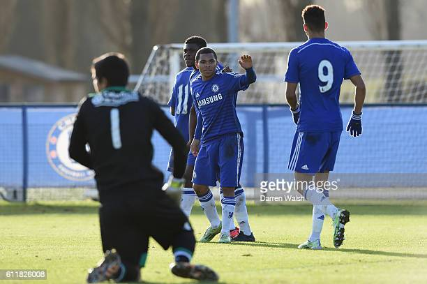 Chelsea's U19 Jay Dasilva during a UEFA Youth League match between Chelsea Under 19 and Sporting Lisbon Under 19 at the Cobham Training Ground on...