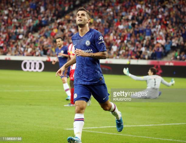 Chelsea's US forward Christian Pulisic celebrate scoring during the preseason froendly football match between Red Bull Salzburg and Chelsea in...