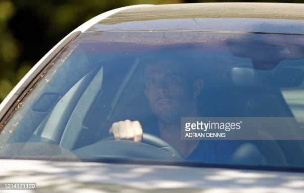 Chelsea's US midfielder Christian Pulisic arrives at Chelsea's Cobham training facility in Stoke D'Abernon southwest of London on May 20 2020 as...