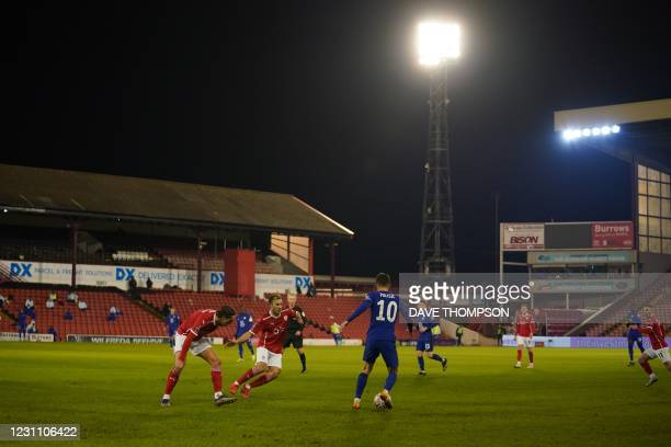 Chelsea's US midfielder Christian Pulisic looks to play a pass during the English FA Cup fifth round football match between Barnsley and Chelsea at...
