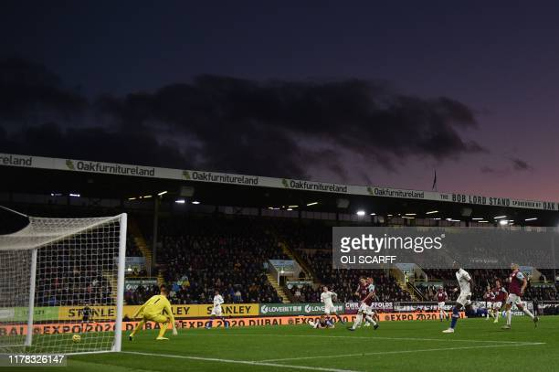 Chelsea's US midfielder Christian Pulisic scores their second goal during the English Premier League football match between Burnley and Chelsea at...