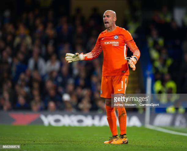 Chelsea's Wilfredo Caballero during the Carabao Cup Fourth Round match between Chelsea and Everton at Stamford Bridge on October 25 2017 in London...