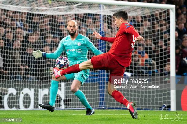 Chelsea's Wilfredo Caballero saves a shot from Bayern Munich's Robert Lewandowski during the UEFA Champions League round of 16 first leg match...