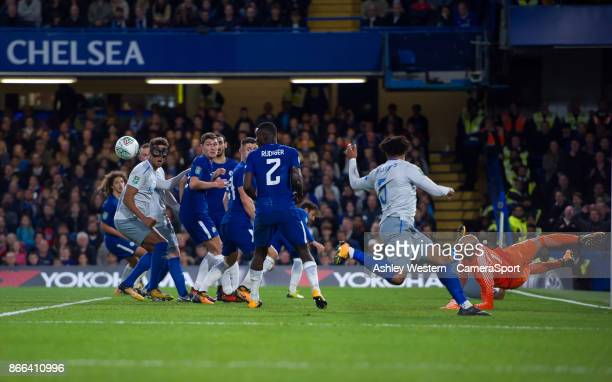 Chelsea's Wilfredo Caballero saves during the Carabao Cup Fourth Round match between Chelsea and Everton at Stamford Bridge on October 25 2017 in...
