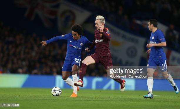 Chelsea's Willian and Barcelona's Ivan Rakitic during the UEFA Champions League Round of 16 First Leg match between Chelsea FC and FC Barcelona at...