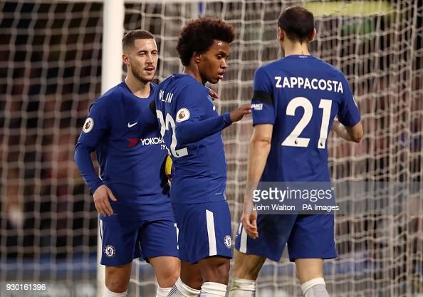 Chelsea's Willian And Eden Hazard And Davide Zappacosta